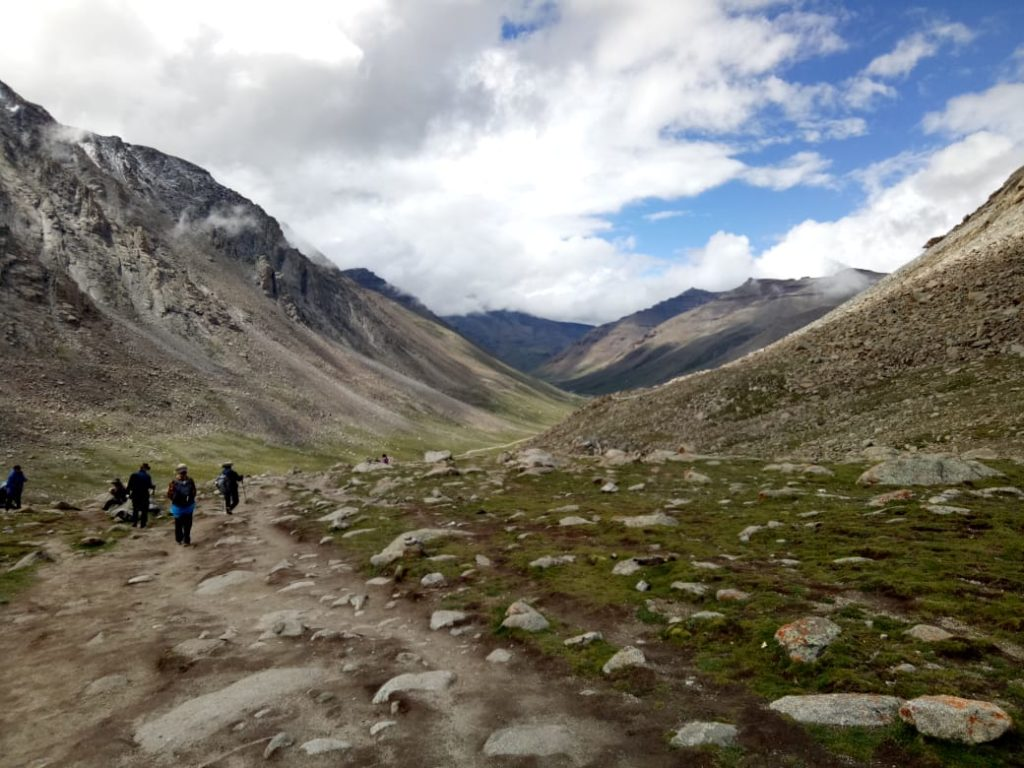 going down the dolma pass from gouri kund