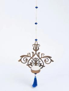 Metal Glass Cutwork Hanging T Lite Holder