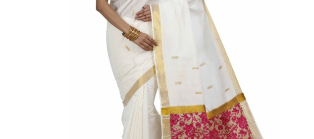 Kasavu cotton saree. Image courtesy:Amazon.in