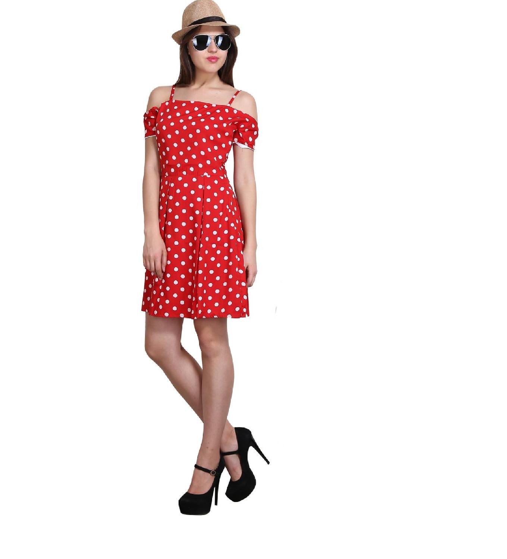 New Sierra women Red Summer cool off shoulder stripe polka dot dress