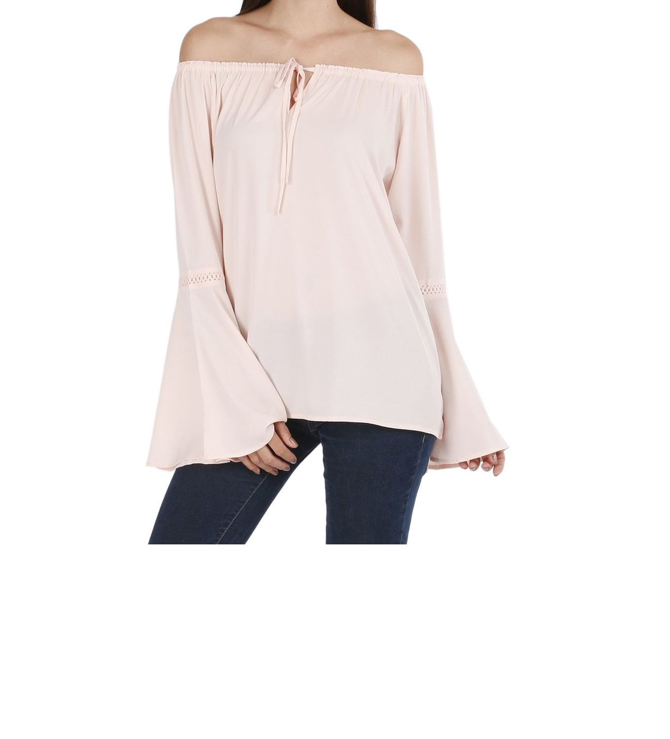 Lemon Chillo Pink Poly Crepe Solid Top for Women