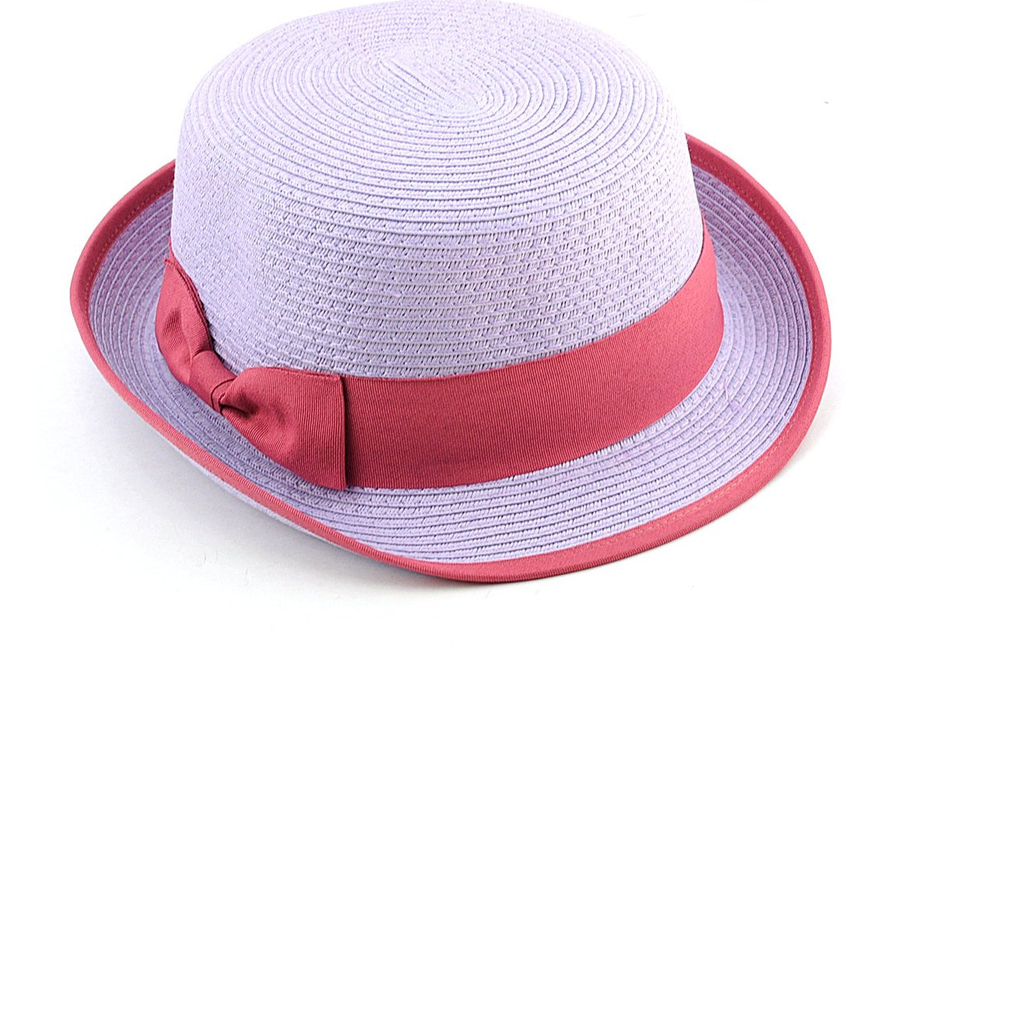 NYfashion101 Stylish Flat Top Paper Woven Porkpie Bucket Hat w/ Solid Color Bow