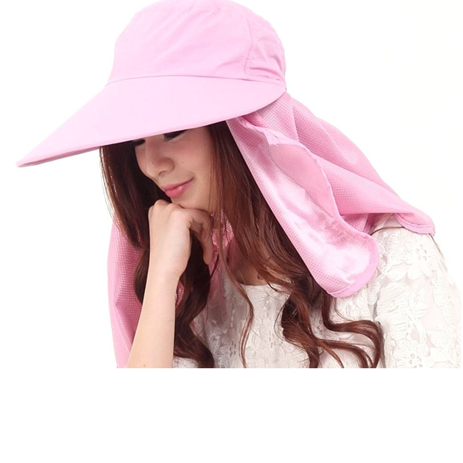Women Summer Cotton Large Wide Brim Anti-uv Face Cover Sun Visor Hat Cap