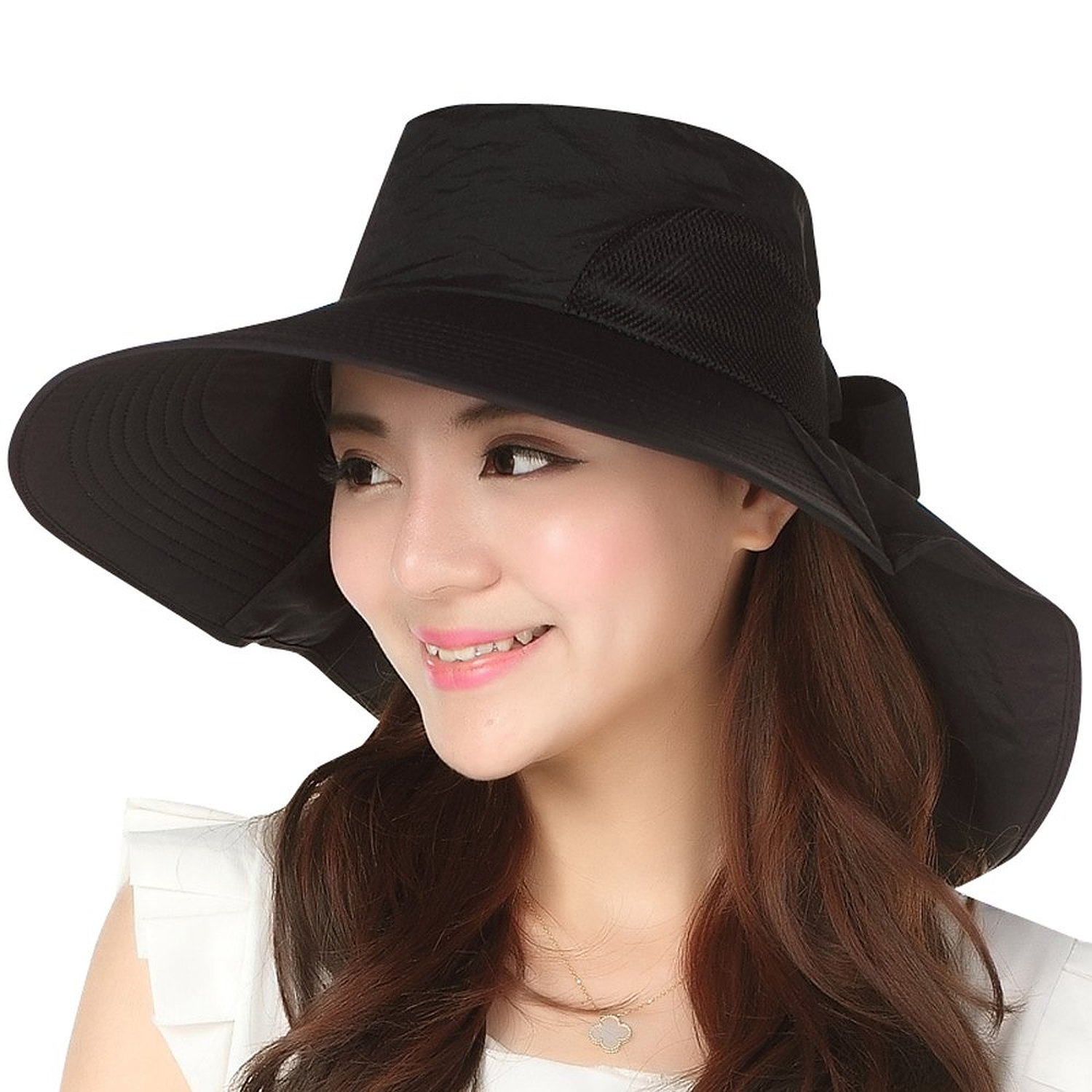 Jemis Women's Big Brim Summer Hat with Neck Cover