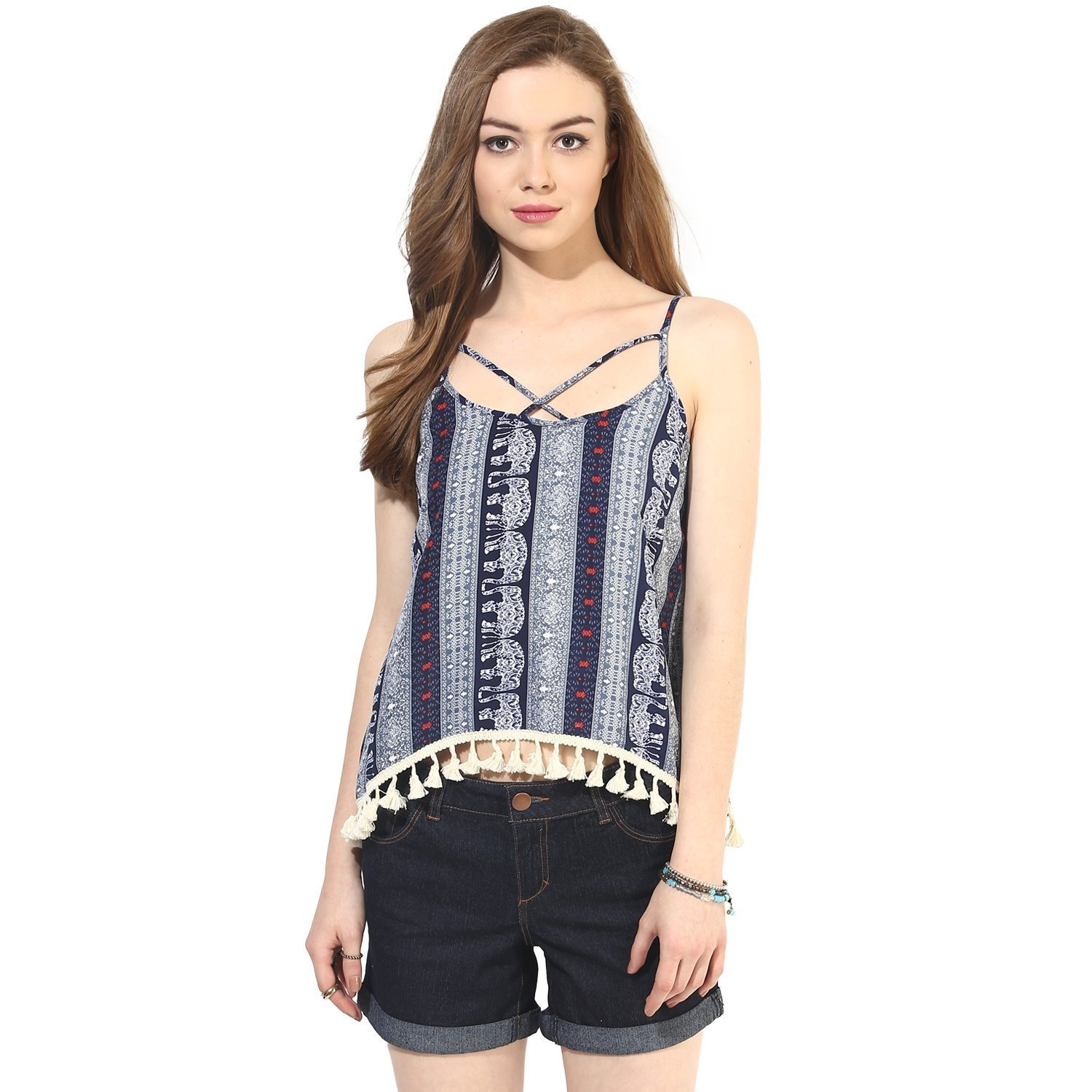 Elephant Boho Print Boho Swing Top with Lace Hem