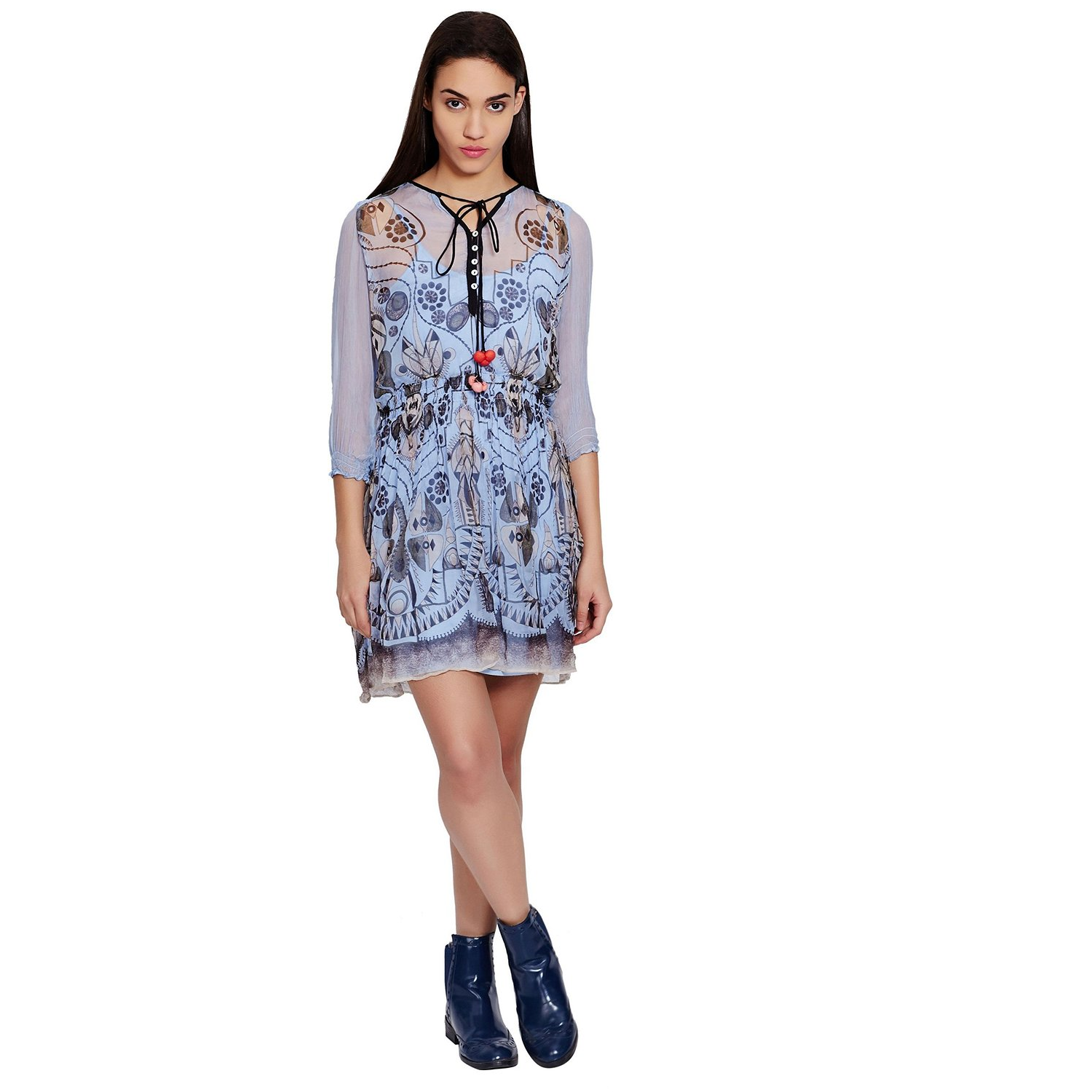 Ritu Kumar Designer Blue Mini Dress With Exquisite Floral Prints And Pleated Detailing